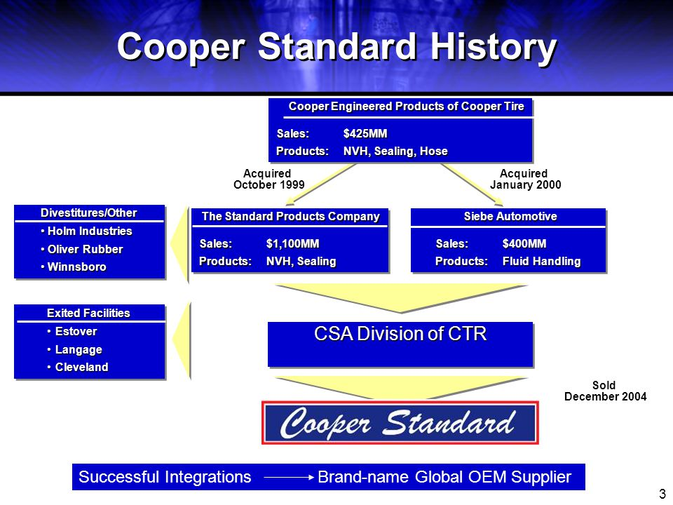 4 The Future Looked Bright for Cooper Standard Automotive Good Year for Sales & Profits 52 Plants 18,000 Employees The Year 2000 Environment for Success was Right