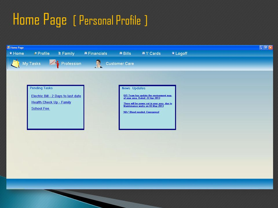 Home Page [ Personal Profile ]