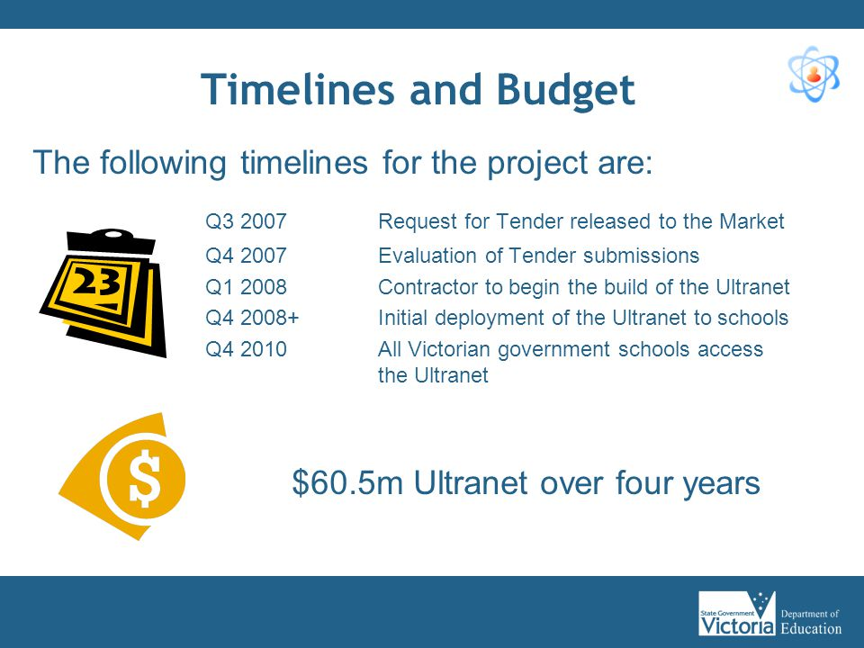 Timelines and Budget The following timelines for the project are: Q3 2007Request for Tender released to the Market Q4 2007Evaluation of Tender submiss