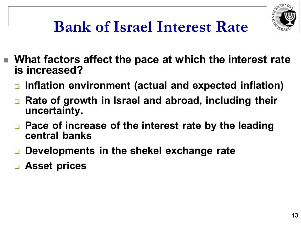 13 Bank of Israel Interest Rate What factors affect the pace at which the interest rate is increased.
