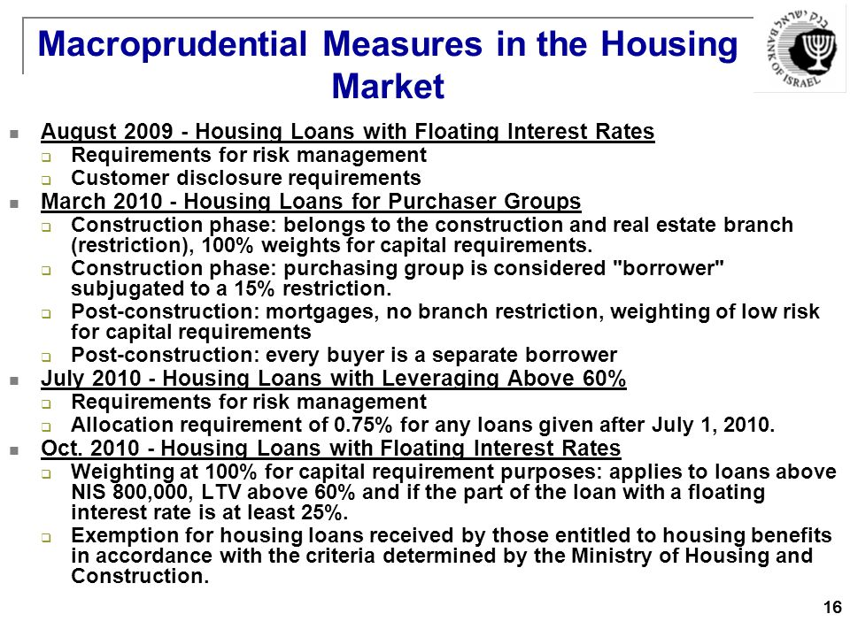 16 Macroprudential Measures in the Housing Market August Housing Loans with Floating Interest Rates  Requirements for risk management  Customer disclosure requirements March Housing Loans for Purchaser Groups  Construction phase: belongs to the construction and real estate branch (restriction), 100% weights for capital requirements.