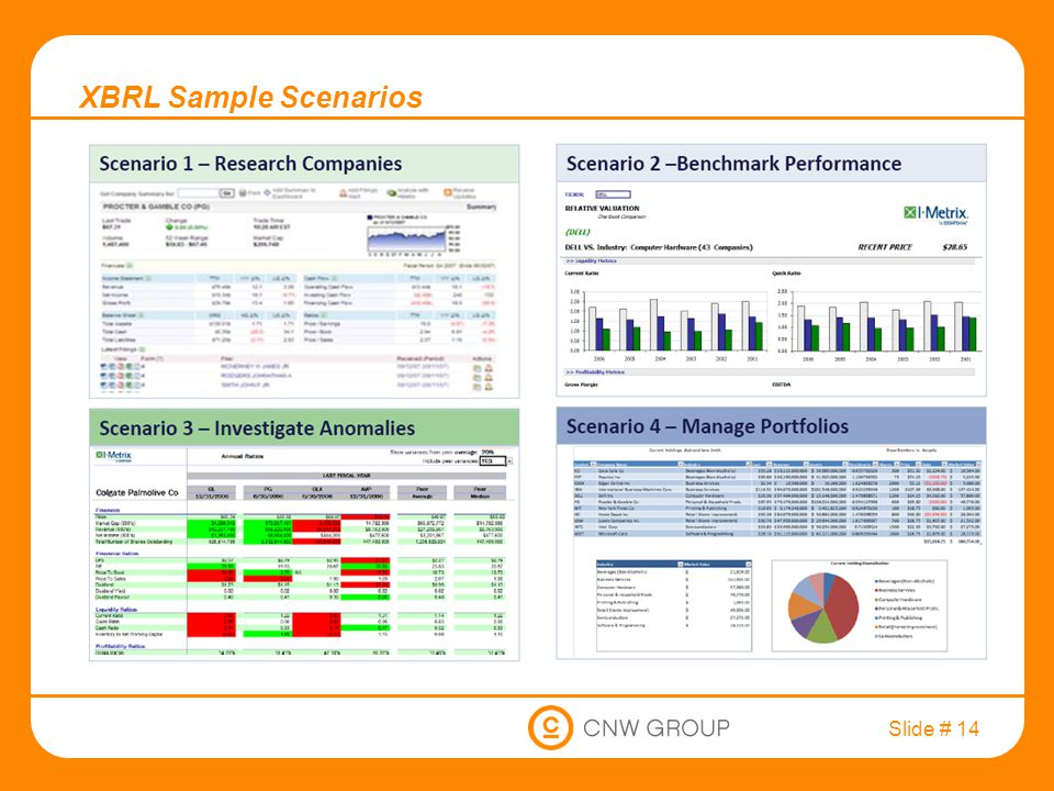 Slide # 14 XBRL Sample Scenarios