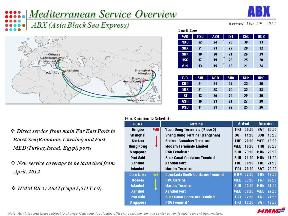 Mediterranean Service Overview ABX (Asia Black Sea Express) Note: All dates and times subject to change.