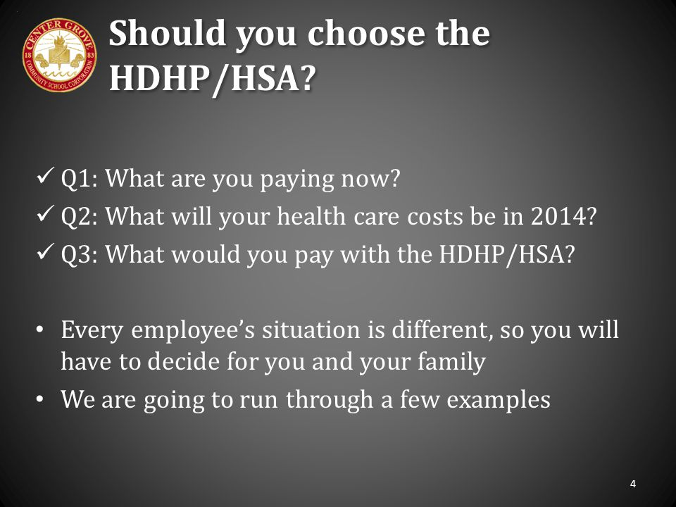 Should you choose the HDHP/HSA? Q1: What are you paying now? Q2: What will your health care costs be in 2014? Q3: What would you pay with the HDHP/HSA