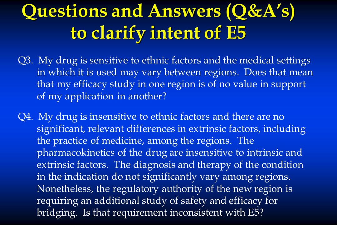 Questions and Answers (Q&A's) to clarify intent of E5 Q3.