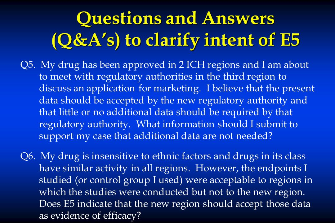 Questions and Answers (Q&A's) to clarify intent of E5 Q5.