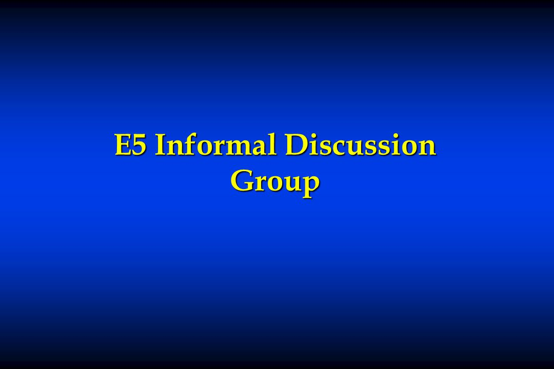 E5 Informal Discussion Group