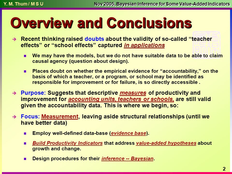 Y. M. Thum / M S U Y. M. Thum / M S U Nov 2005, Bayesian Inference for Some Value-Added Indicators 1 Measurement & Quantitative Methods Counseling, Ed