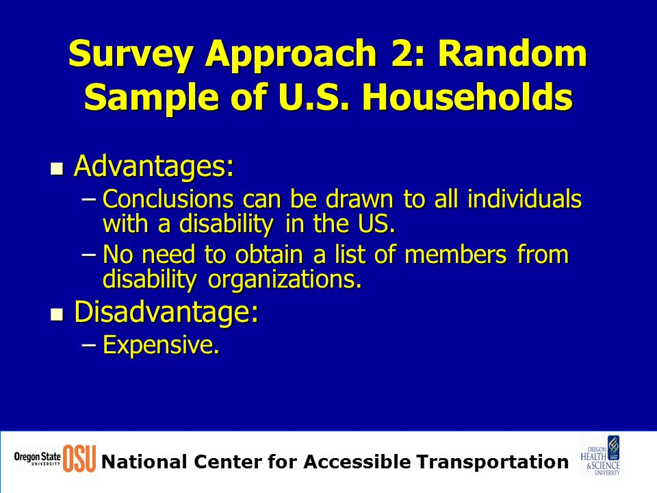National Center for Accessible Transportation Survey Approach 2: Random Sample of U.S. Households Advantages: Advantages: –Conclusions can be drawn to