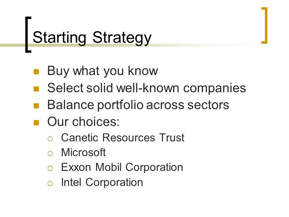 Starting Strategy Buy what you know Select solid well-known companies Balance portfolio across sectors Our choices:  Canetic Resources Trust  Microsoft  Exxon Mobil Corporation  Intel Corporation