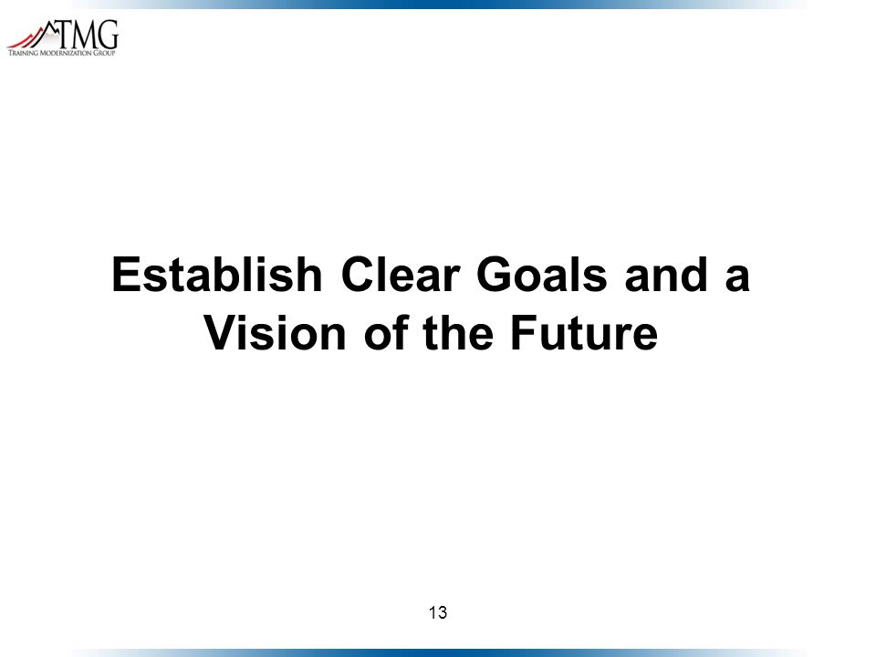 13 Establish Clear Goals and a Vision of the Future