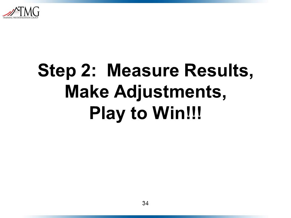 34 Step 2: Measure Results, Make Adjustments, Play to Win!!!