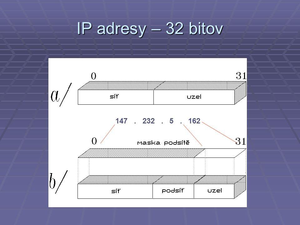 IP adresy – 32 bitov 147. 232. 5. 162