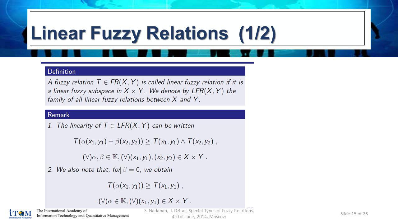 Linear Fuzzy Relations (1/2) S. Nadaban, I.