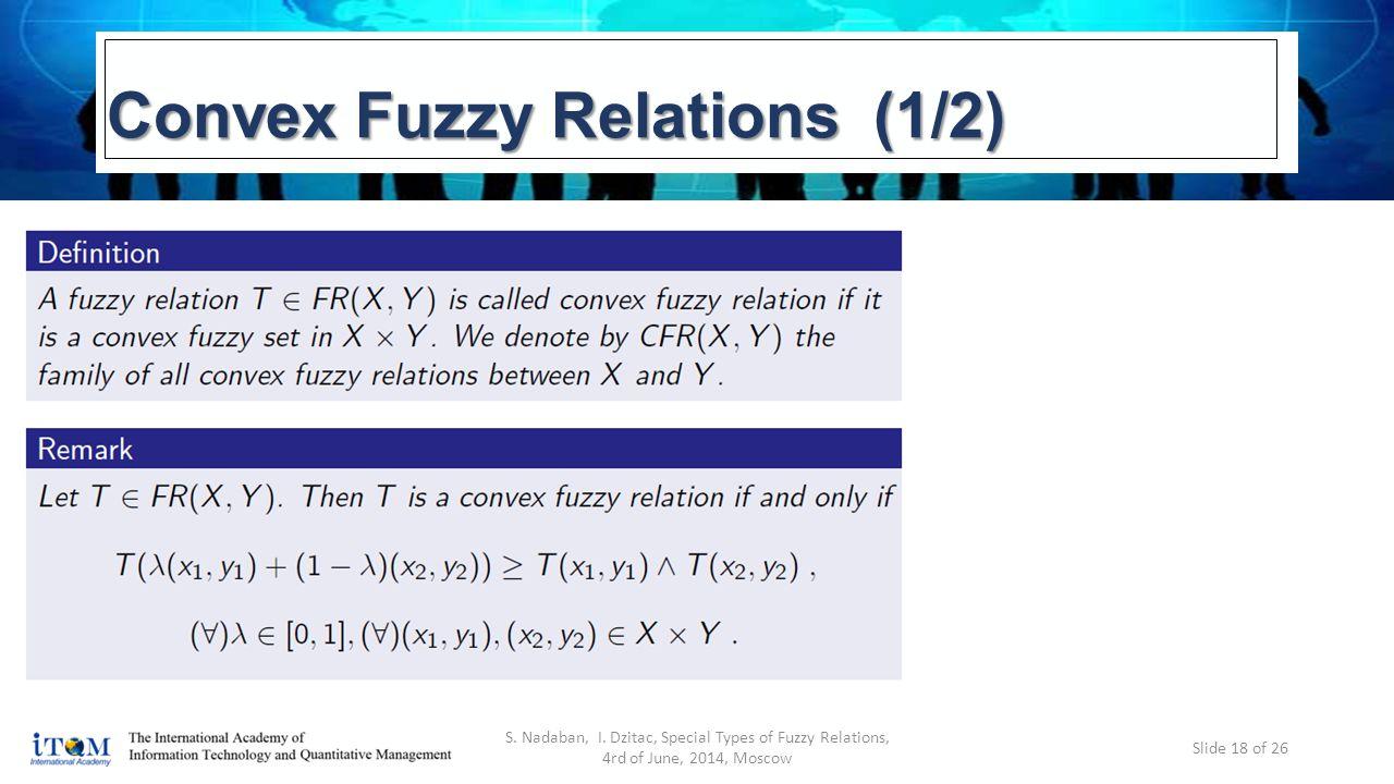 Convex Fuzzy Relations (1/2) S. Nadaban, I.