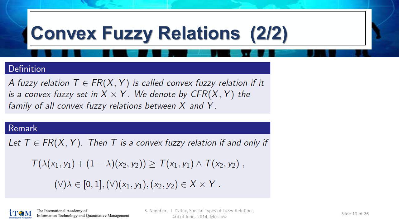 Convex Fuzzy Relations (2/2) S. Nadaban, I.