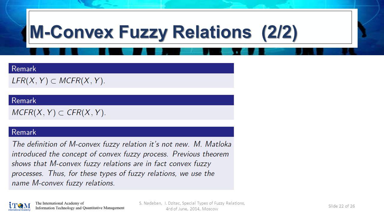 M-Convex Fuzzy Relations (2/2) S. Nadaban, I.