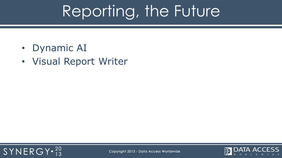 Reporting, the Future Dynamic AI Visual Report Writer