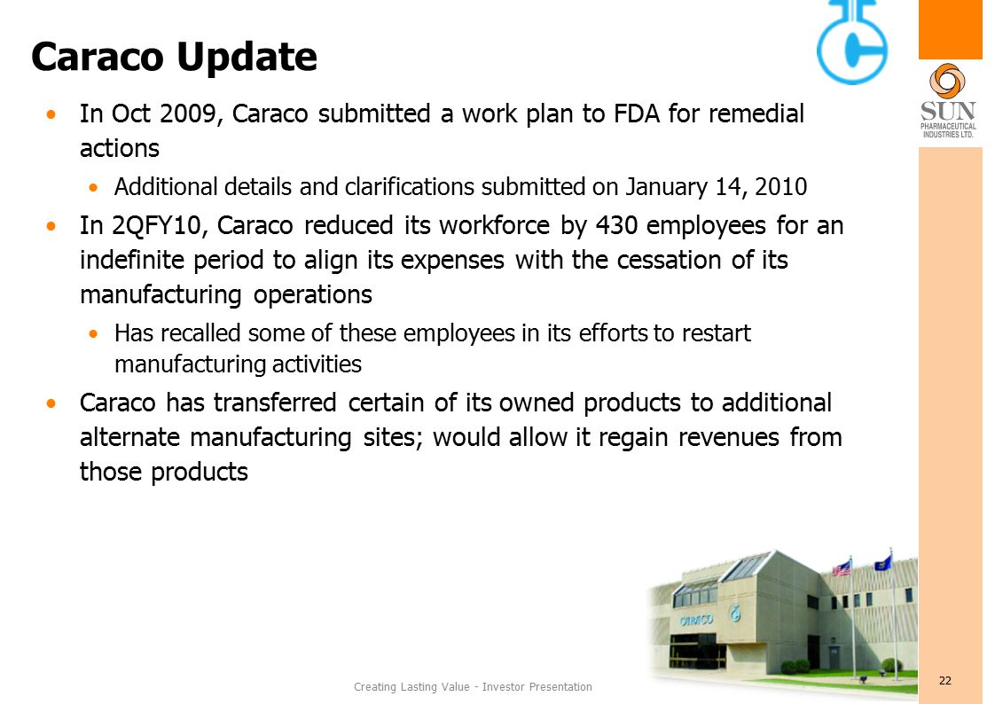 Creating Lasting Value - Investor Presentation 22 Caraco Update In Oct 2009, Caraco submitted a work plan to FDA for remedial actions Additional details and clarifications submitted on January 14, 2010 In 2QFY10, Caraco reduced its workforce by 430 employees for an indefinite period to align its expenses with the cessation of its manufacturing operations Has recalled some of these employees in its efforts to restart manufacturing activities Caraco has transferred certain of its owned products to additional alternate manufacturing sites; would allow it regain revenues from those products