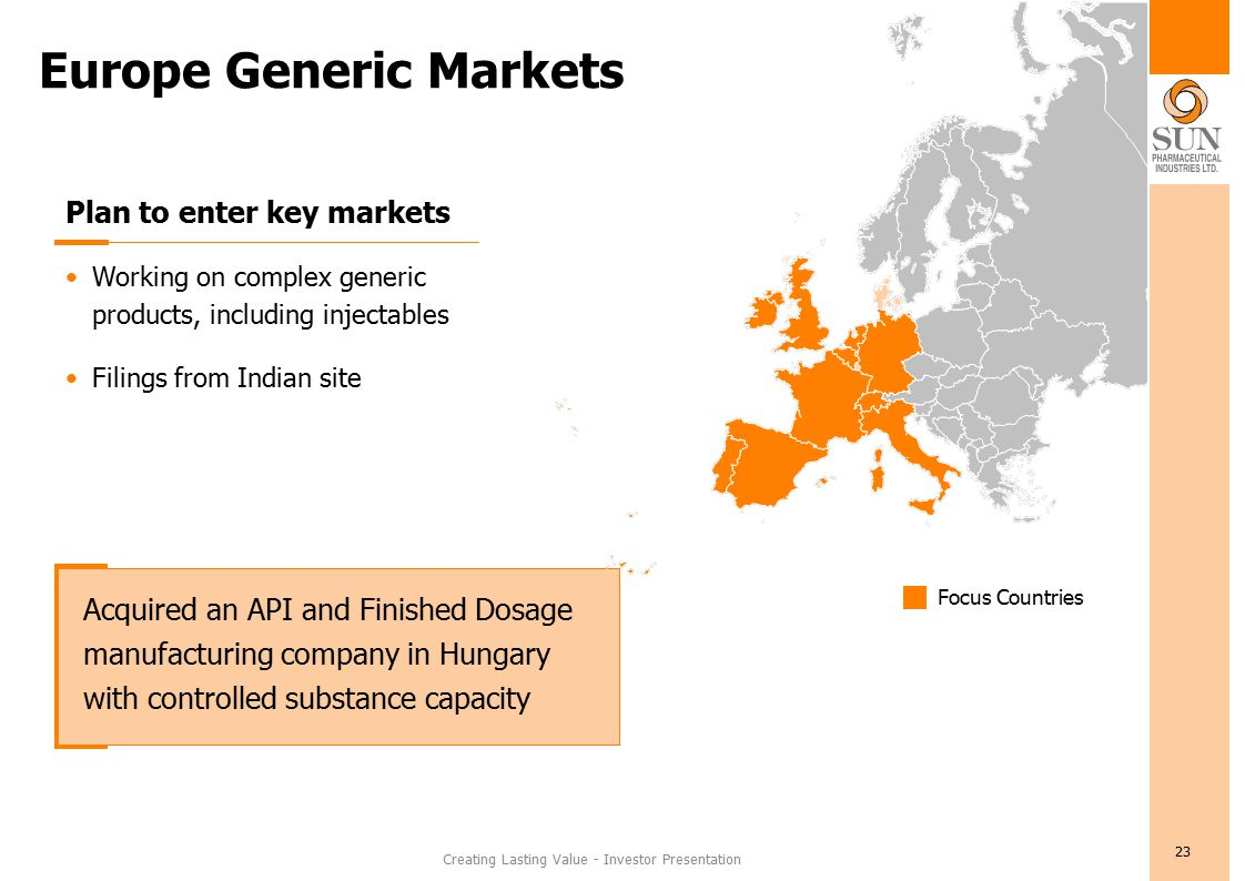 Creating Lasting Value - Investor Presentation 23 Europe Generic Markets Plan to enter key markets Working on complex generic products, including injectables Filings from Indian site Acquired an API and Finished Dosage manufacturing company in Hungary with controlled substance capacity Focus Countries