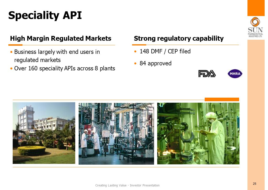 Creating Lasting Value - Investor Presentation 25 Speciality API High Margin Regulated Markets Business largely with end users in regulated markets Over 160 speciality APIs across 8 plants Strong regulatory capability 148 DMF / CEP filed 84 approved