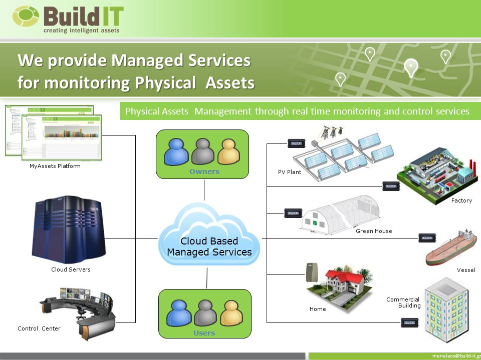 menelaos@build-it.gr We provide Managed Services for monitoring Physical Assets PV Plant Factory Green House Vessel Commercial Building Home Control C