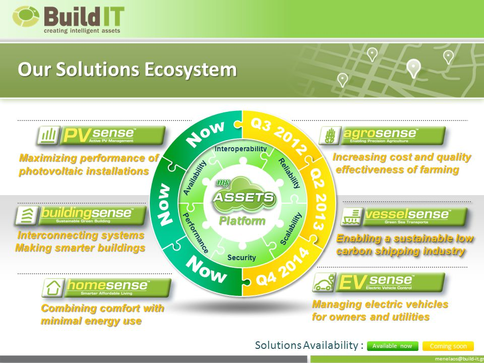 menelaos@build-it.gr Our Solutions Ecosystem Security Interoperability Availability Reliability Performance Scalability Maximizing performance of photovoltaic installations Interconnecting systems Making smarter buildings Interconnecting systems Making smarter buildings Platform Solutions Availability : Coming soon Available now