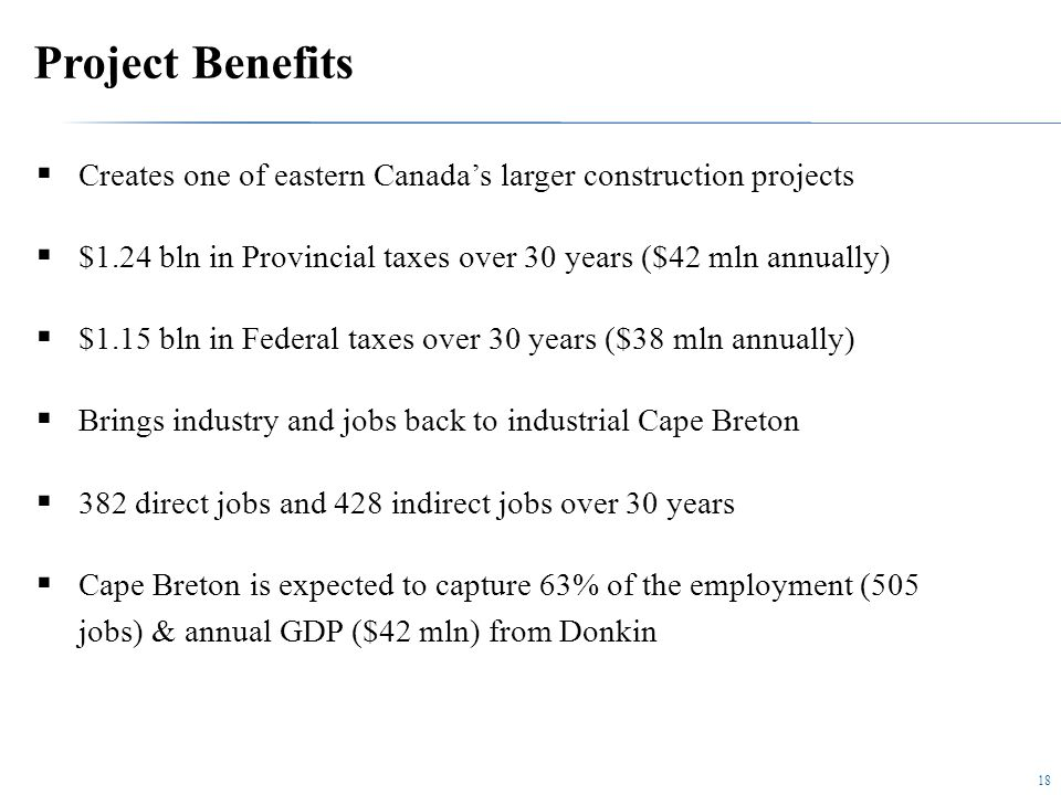 18 Project Benefits  Creates one of eastern Canada's larger construction projects  $1.24 bln in Provincial taxes over 30 years ($42 mln annually)  $1.15 bln in Federal taxes over 30 years ($38 mln annually)  Brings industry and jobs back to industrial Cape Breton  382 direct jobs and 428 indirect jobs over 30 years  Cape Breton is expected to capture 63% of the employment (505 jobs) & annual GDP ($42 mln) from Donkin