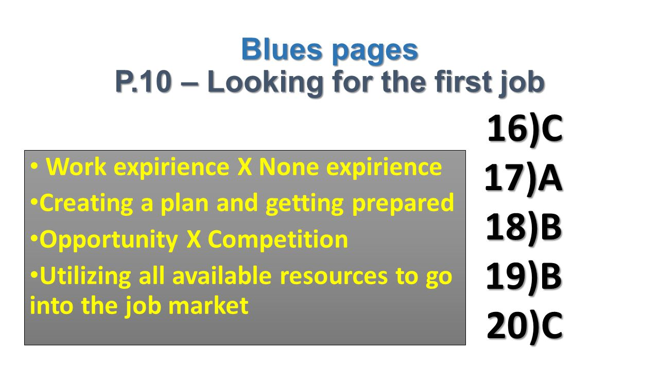 Blues pages P.10 – Looking for the first job 16)C17)A18)B19)B20)C Work expirience X None expirience Creating a plan and getting prepared Opportunity X