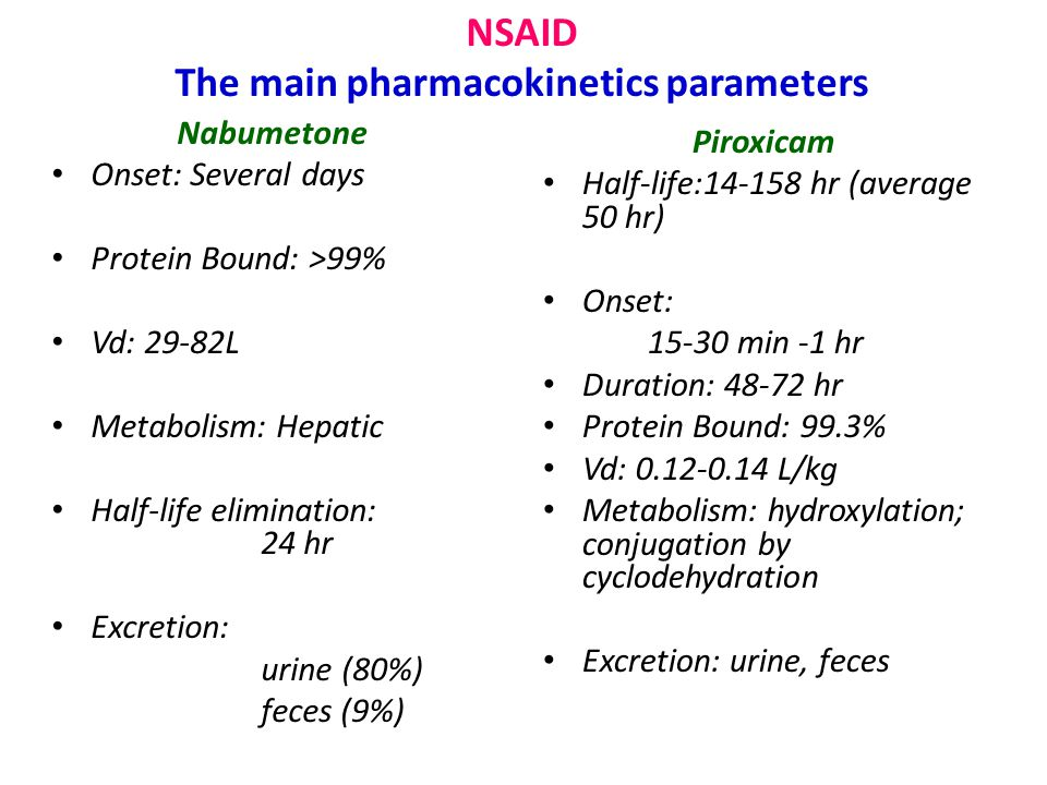 NSAID The main pharmacokinetics parameters Nabumetone Onset: Several days Protein Bound: >99% Vd: 29-82L Metabolism: Hepatic Half-life elimination: 24