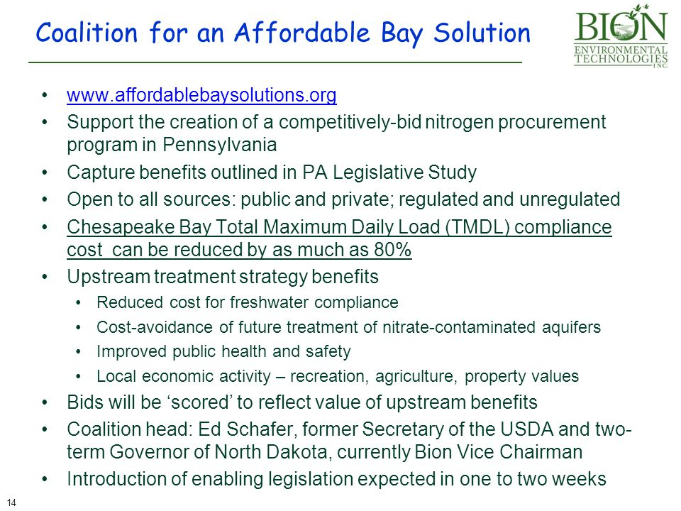 www.affordablebaysolutions.org Support the creation of a competitively-bid nitrogen procurement program in Pennsylvania Capture benefits outlined in P