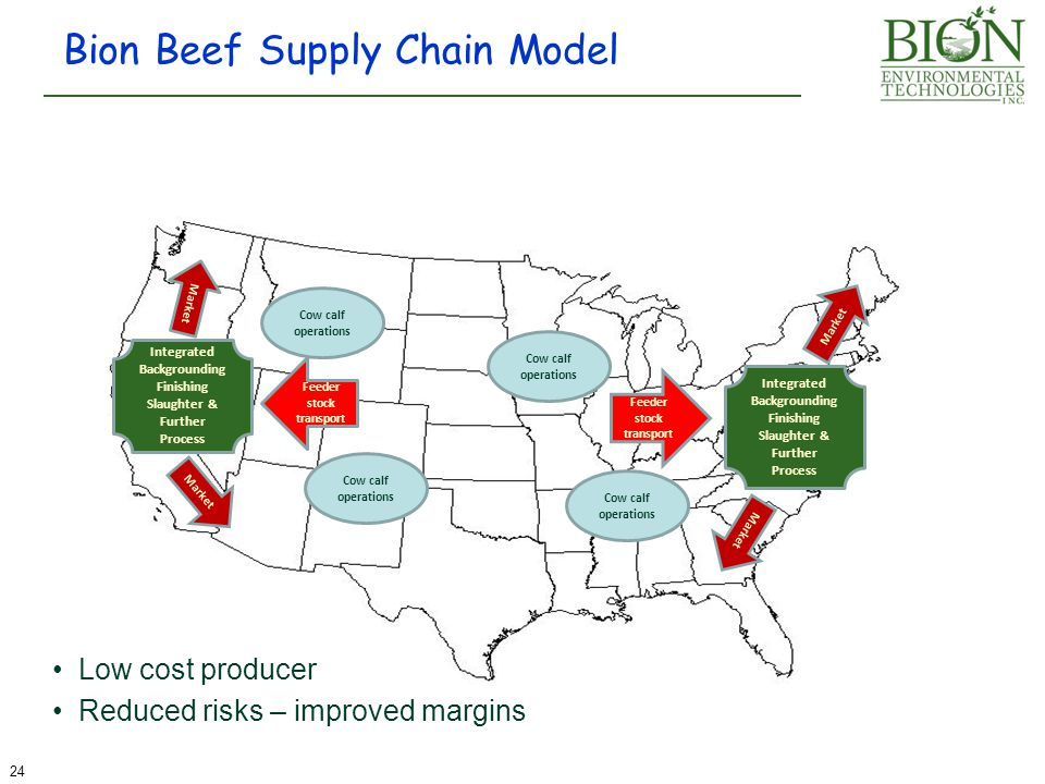 Bion Beef Supply Chain Model Cow calf operations 24 Market Feeder stock transport Integrated Backgrounding Finishing Slaughter & Further Process Integ