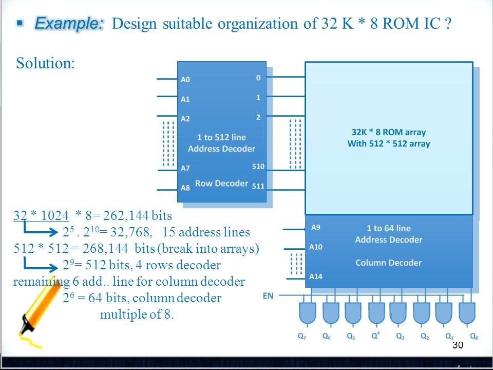 30 32 * 1024 * 8= 262,144 bits 2 5. 2 10 = 32,768, 15 address lines 512 * 512 = 268,144 bits (break into arrays) 2 9 = 512 bits, 4 rows decoder remain