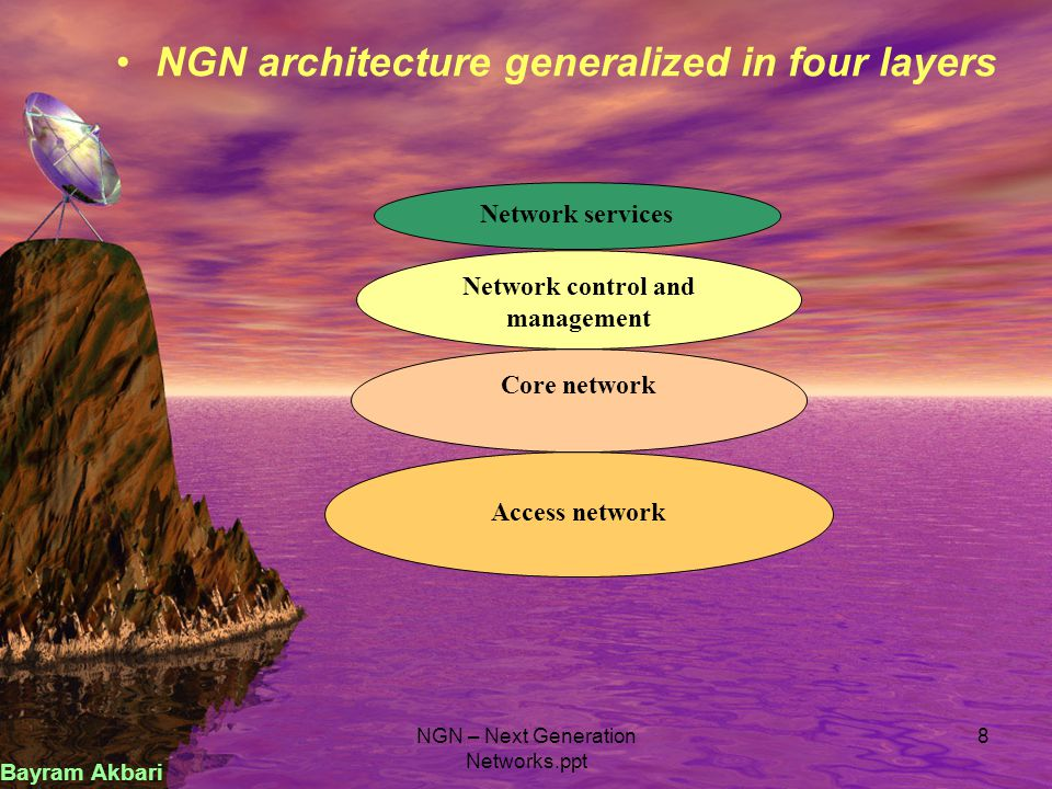 NGN – Next Generation Networks.ppt 8 NGN architecture generalized in four layers Network services Network control and management Core network Access n