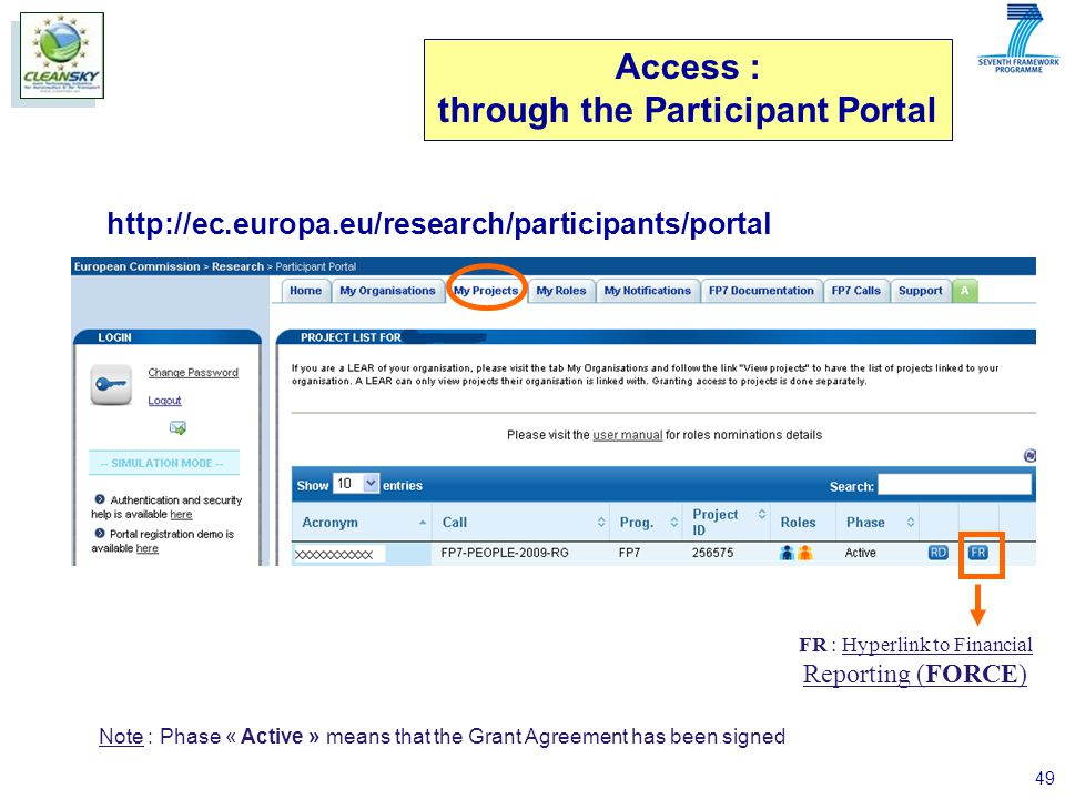 49 Access : through the Participant Portal http://ec.europa.eu/research/participants/portal FR : Hyperlink to Financial Reporting (FORCE) Note : Phase « Active » means that the Grant Agreement has been signed