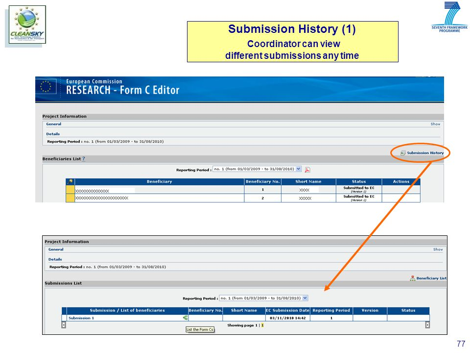 77 Submission History (1) Coordinator can view different submissions any time