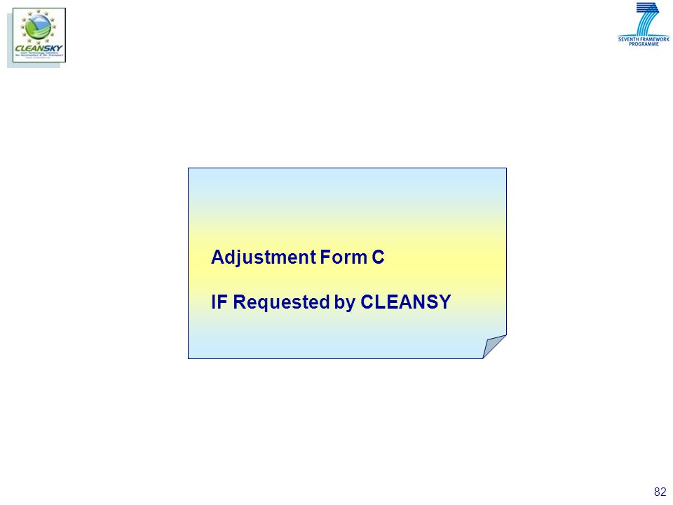 82 Adjustment Form C IF Requested by CLEANSY