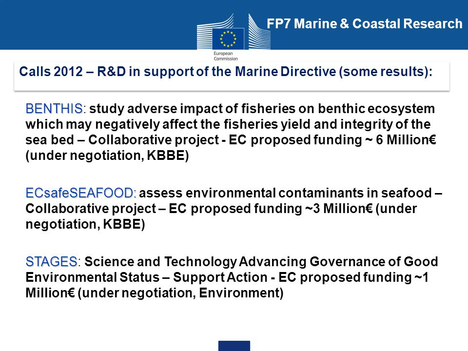 STAGES STAGES - Science and Technology Advancing Governance of Good Environmental Status (FP7 Environment support action) Calls 2012 – R&D in support of the Marine Directive (some results): Aims: Extract the knowledge of EU and national research funded activities in the area of marine environment, synthesise it and make it widely accessible (per descriptor, criteria, indicator, pressures and impacts) Identify the needs for further research to improve the scientific underpinning for the implementation of the Marine Directive, Assess options for the development of a structured science / policy interface platform sustainable on the long term in support to the Implementation of Marine Directive.