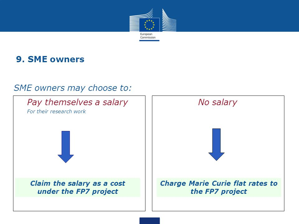 9. SME owners Pay themselves a salary For their research work No salary SME owners may choose to: Claim the salary as a cost under the FP7 project Cha