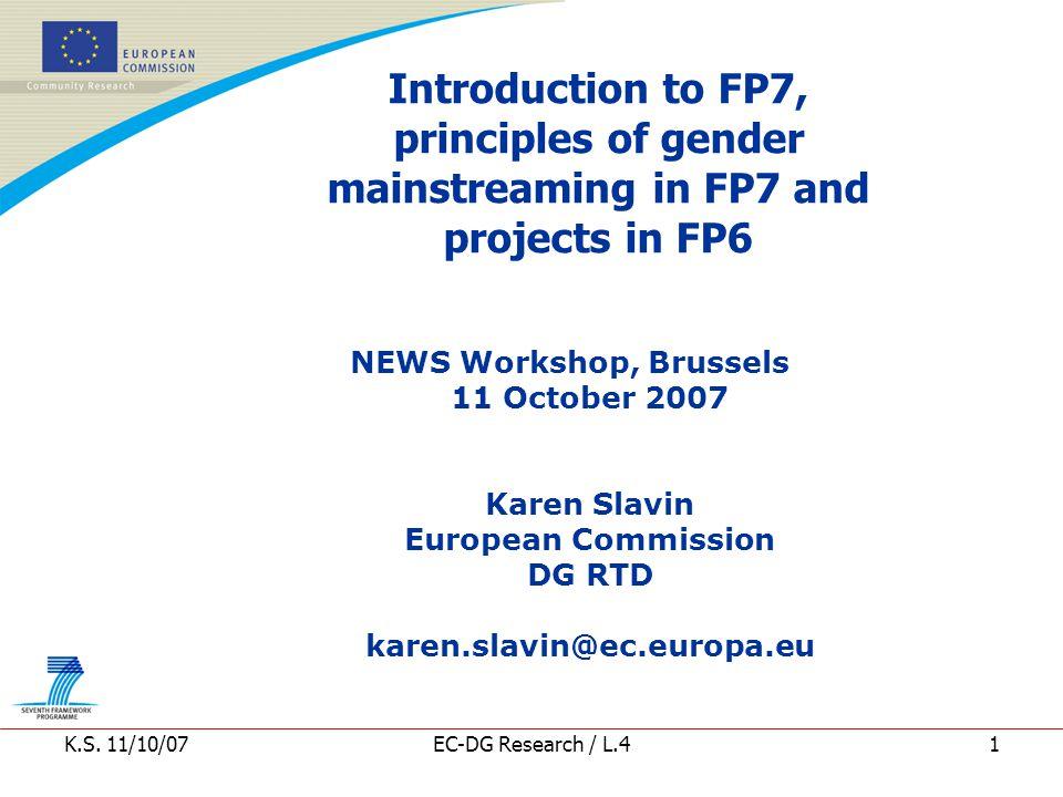 K.S. 11/10/07EC-DG Research / L.412 FP456 Gender Distribution Overview