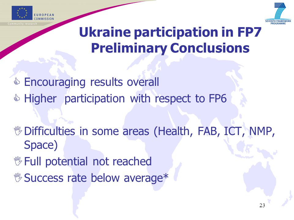 23 Ukraine participation in FP7 Preliminary Conclusions  Encouraging results overall  Higher participation with respect to FP6  Difficulties in some areas (Health, FAB, ICT, NMP, Space)  Full potential not reached  Success rate below average*