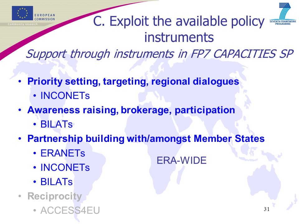 31 Support through instruments in FP7 CAPACITIES SP Priority setting, targeting, regional dialogues INCONETs Awareness raising, brokerage, participation BILATs Partnership building with/amongst Member States ERANETs INCONETs BILATs Reciprocity ACCESS4EU C.