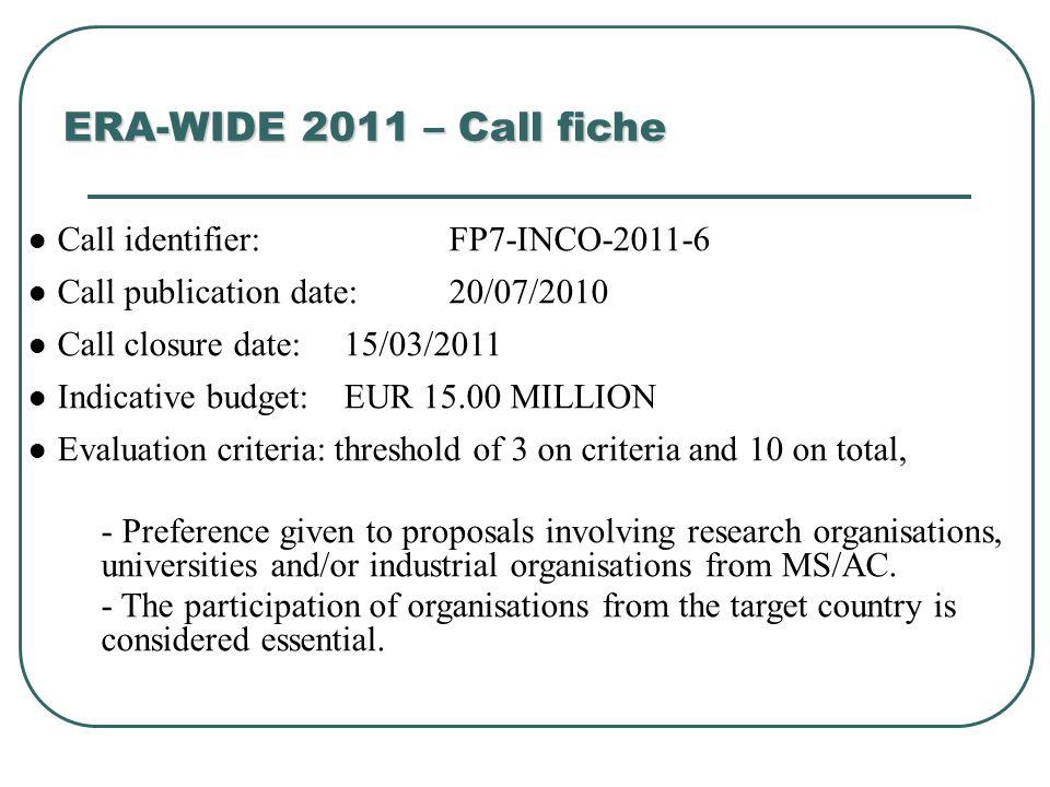 ERA-WIDE 2011 – Call fiche Call identifier: FP7-INCO-2011-6 Call publication date: 20/07/2010 Call closure date: 15/03/2011 Indicative budget: EUR 15.