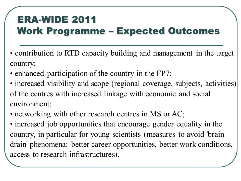 contribution to RTD capacity building and management in the target country; enhanced participation of the country in the FP7; increased visibility and
