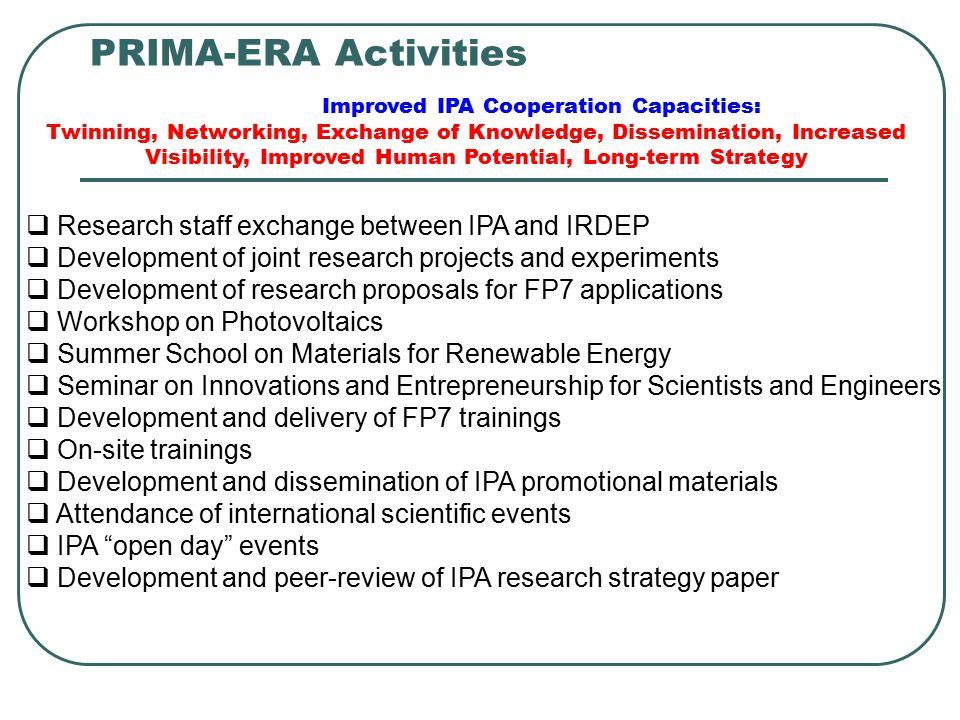 PRIMA-ERA Activities  Research staff exchange between IPA and IRDEP  Development of joint research projects and experiments  Development of researc