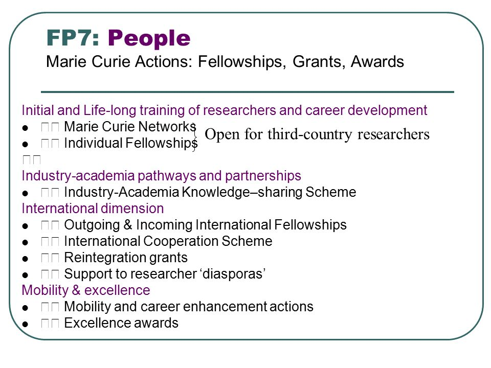 FP7: People Marie Curie Actions: Fellowships, Grants, Awards Initial and Life-long training of researchers and career development Marie Curie Networks