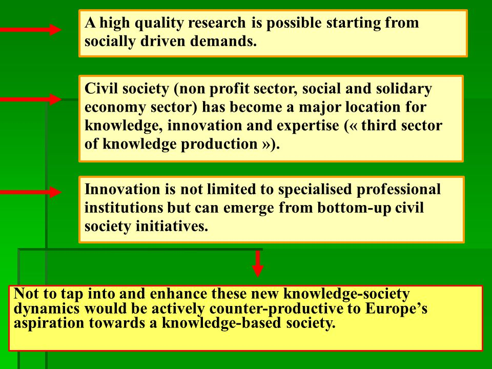 Civil society (non profit sector, social and solidary economy sector) has become a major location for knowledge, innovation and expertise (« third sector of knowledge production »).