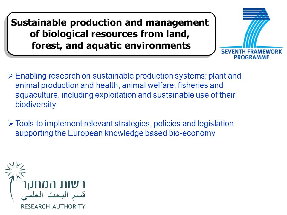  Enabling research on sustainable production systems; plant and animal production and health; animal welfare; fisheries and aquaculture, including ex