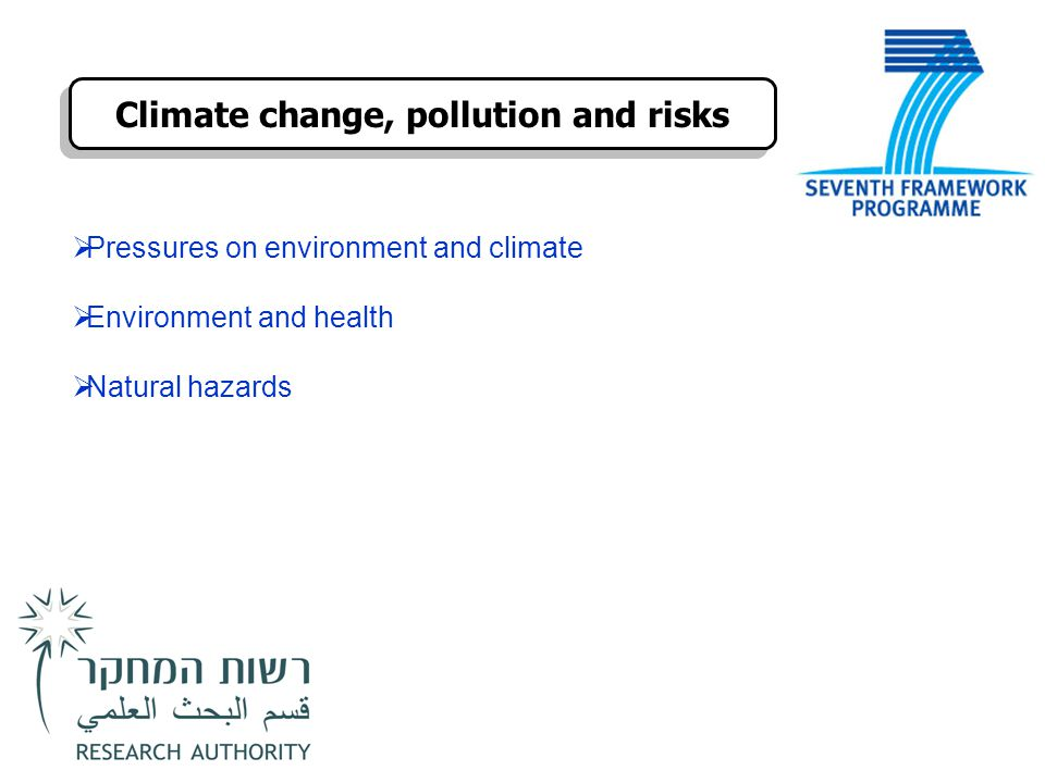  Pressures on environment and climate  Environment and health  Natural hazards Climate change, pollution and risks