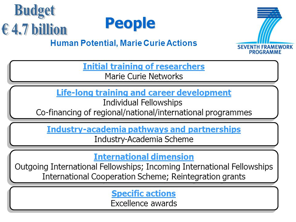 Initial training of researchers Marie Curie Networks Initial training of researchers Marie Curie Networks Life-long training and career development In